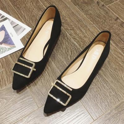 KEITH-WILL時尚鞋館 韓流舞漾花蝶尖頭粗跟鞋-黑