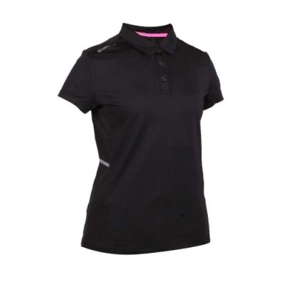 FIRESTAR 女彈性短袖POLO衫-短袖上衣 慢跑 路跑 黑