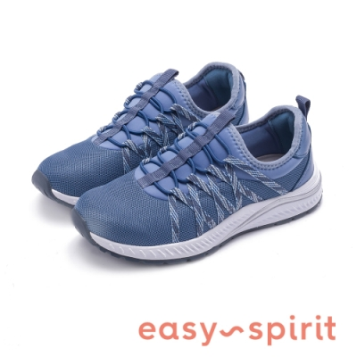 Easy Spirit-seHARPER2健走彈性帶機能運動休閒鞋-特殊紋藍色