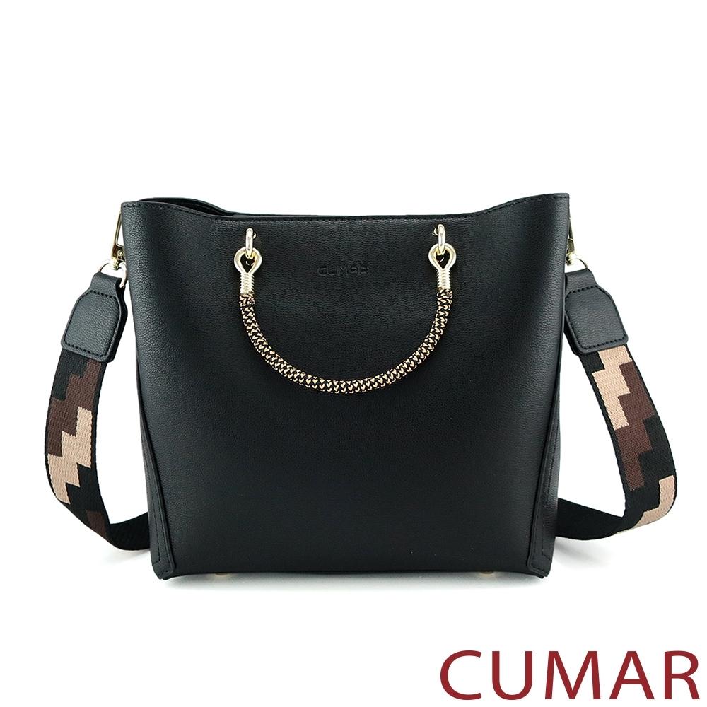 CUMAR  嬉皮幾何圖樣寬背帶小方包-黑色