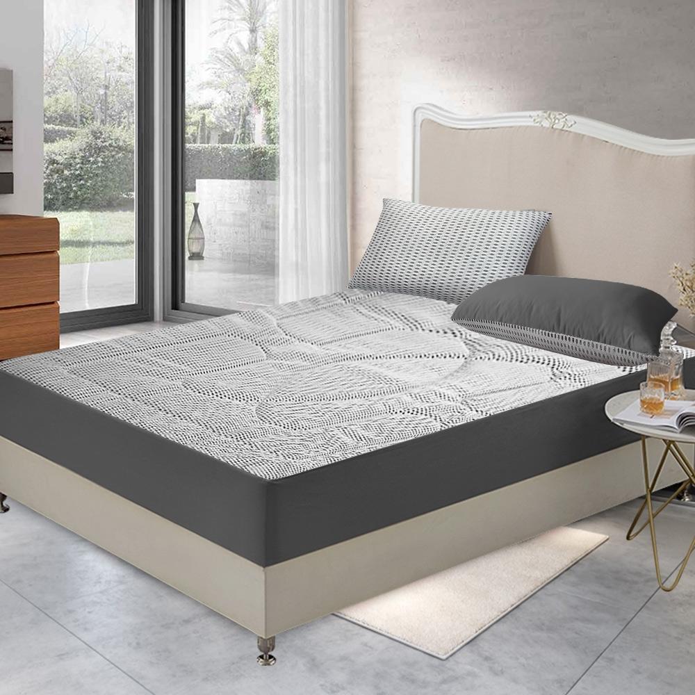 精靈工廠 新一代 3D超涼感床包式透氣床墊雙人三件套床包組 三色任選 product image 1