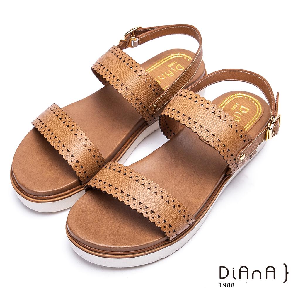 DIANA雷射縷空雕花牛皮厚底涼鞋-甜漾迷人-棕