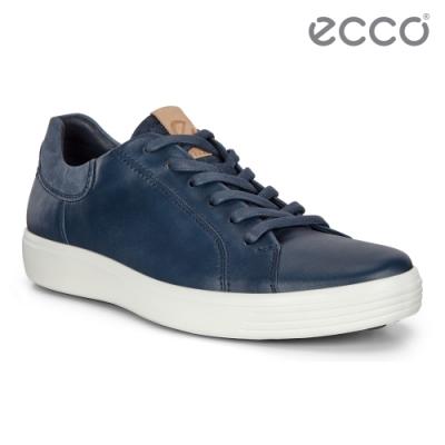 ECCO SOFT 7 M 單色拼接設計輕便休閒鞋 男鞋-藍