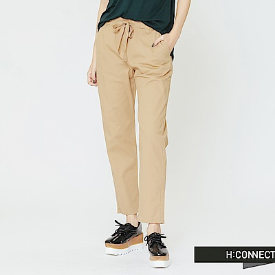 H:CONNECT 韓國品牌 女裝-休閒鬆緊綁帶直筒褲-駝