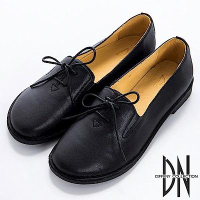 DN 英倫學院 全真皮素面鞋帶紳士鞋-黑