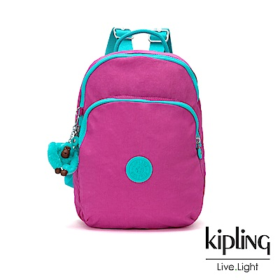 Kipling 糖果色調螢光粉x薄荷綠撞色雙層拉鏈後背包-SEOUL AIR S