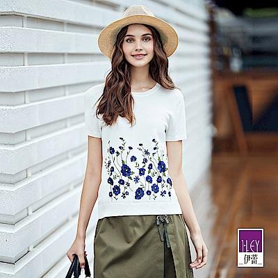 ILEY伊蕾 三色花朵刺繡針織上衣(白/粉)