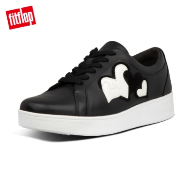 【FitFlop】VALENTINE S SNEAKERS 愛心繫帶休閒鞋-女(黑/白色)
