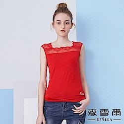 【麥雪爾】水鑽方領蕾絲棉質背心-紅