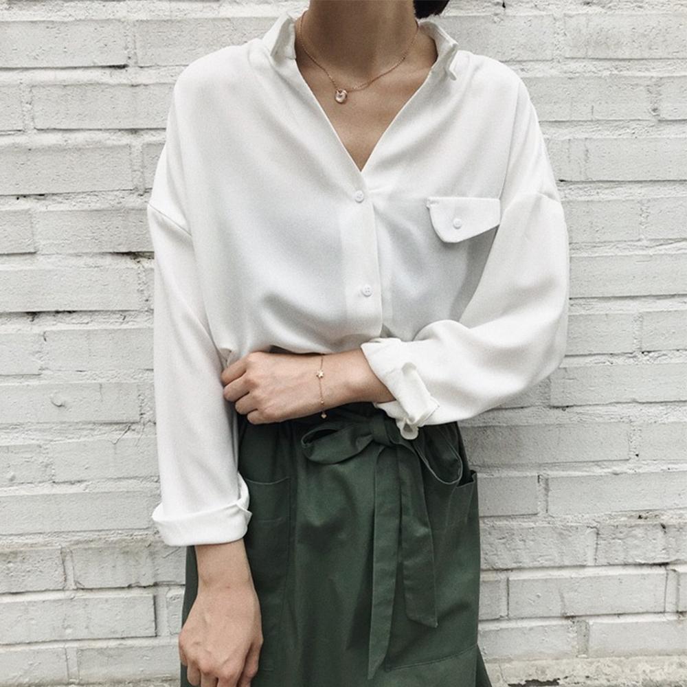 韓國空運 開襟V領厚雪紡襯衫-3色-TMH
