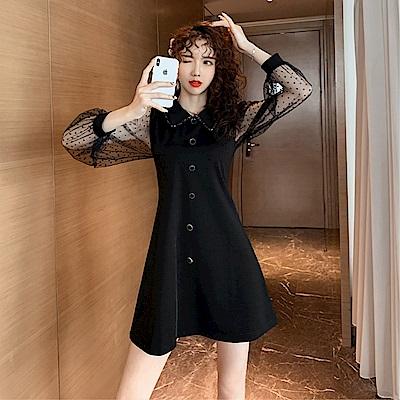 DABI 韓國風時尚拼接波點娃娃領長袖洋裝