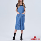 BRAPPERS 女款 Boy friend系列-全棉開叉寬版吊帶裙-藍