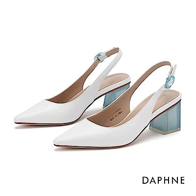 達芙妮DAPHNE 高跟鞋-經典撞色鏤空尖頭粗跟鞋-白