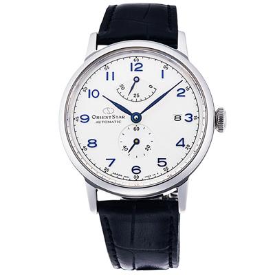 ORIENT東方STAR東方之星真皮機械錶手錶-銀X黑/39mm