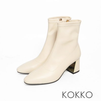 KOKKO激瘦感美腿方頭鏡面粗跟拉鍊襪靴質感米