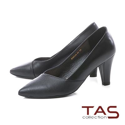 TAS曲線壓紋V口真皮尖頭粗跟鞋-俐落黑