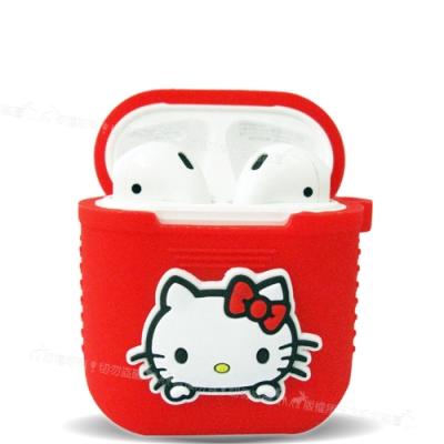 三麗鷗授權 Hello Kitty Apple Airpods 藍芽耳機盒保護套(凱蒂紅)