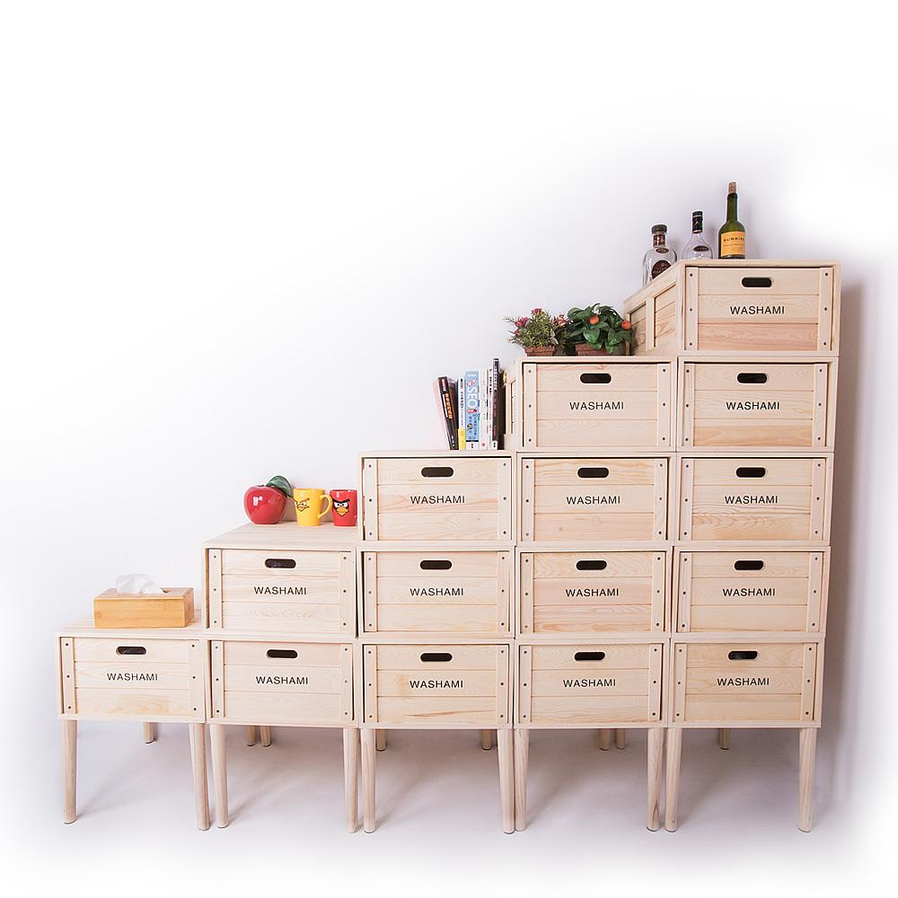 WASHAMl-小工匠萬用松木創意工業風併接箱-梯形15件組