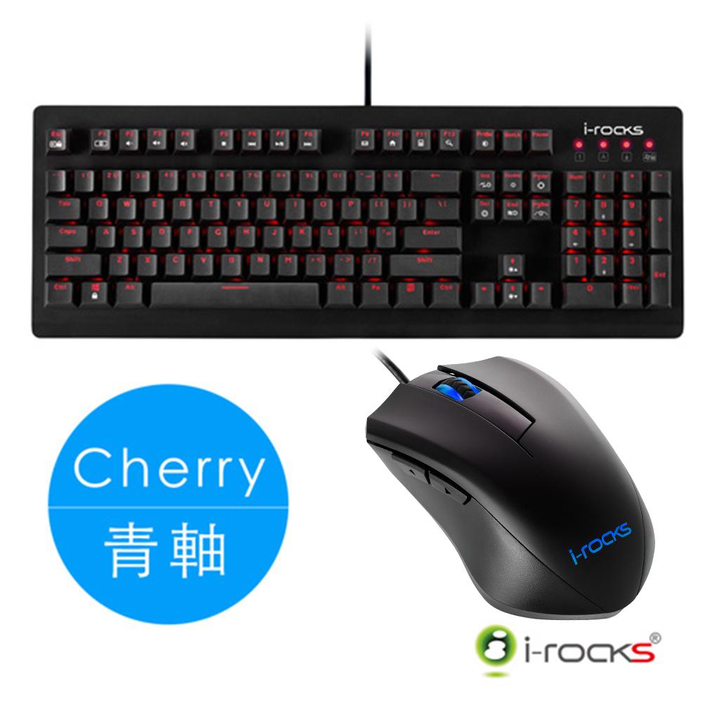 i-Rocks K65MS 機械鍵盤-Cherry青軸+M09W-BL遊戲滑鼠(藍光)