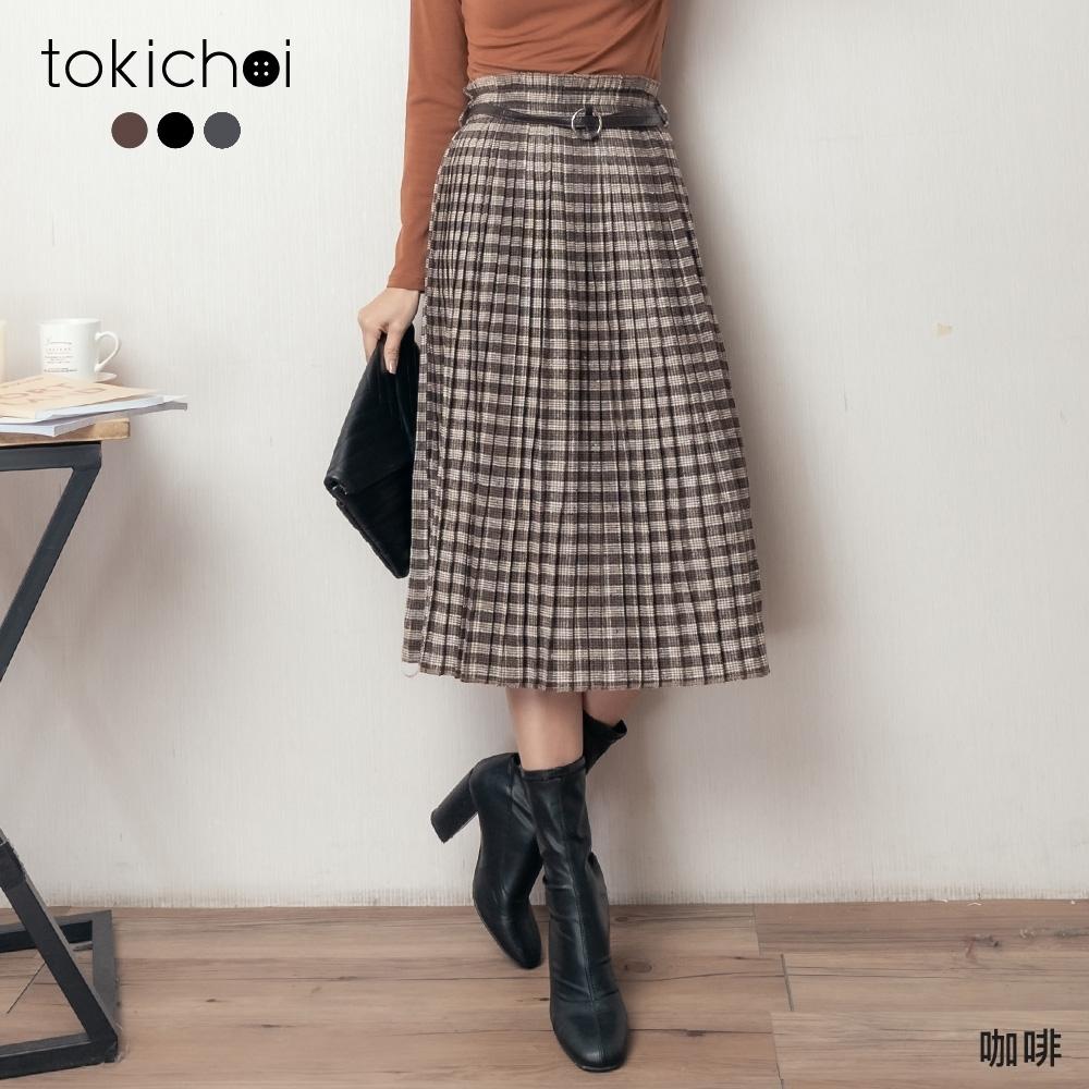 東京著衣 復古秋氛格紋百褶多色長裙(共三色)