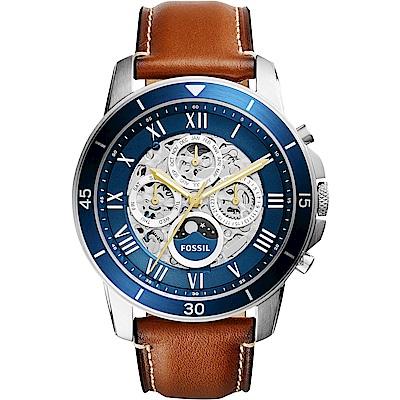 FOSSIL Grant Sport 鏤空機械手錶-藍x咖啡/44mm ME3140