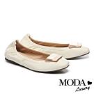 平底鞋 MODA Luxury 經典質感飾釦造型全真皮平底鞋-白