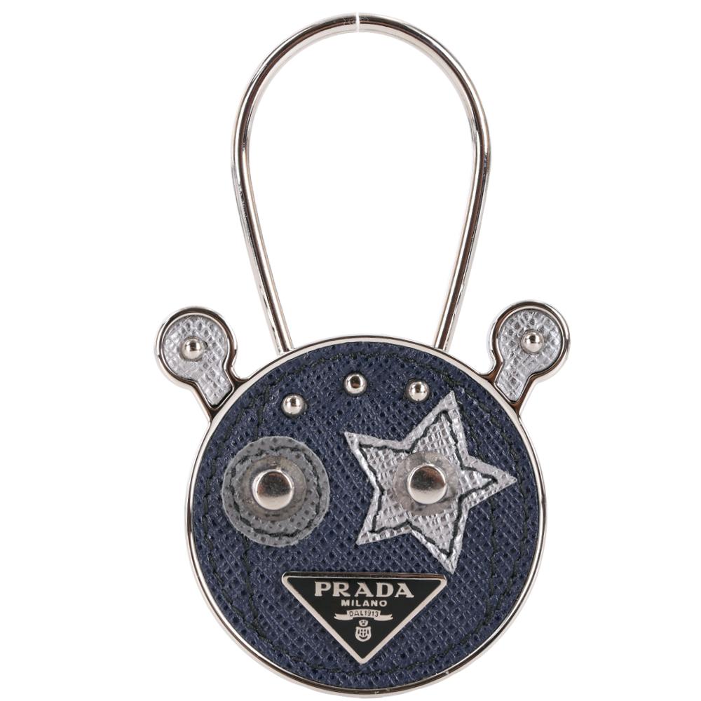 Prada Saffiano 防刮牛皮機器人吊飾/鑰匙圈(海藍色)PRADA