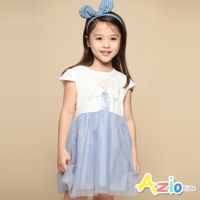 Azio Kids 女童 洋裝 插花小品字母印花澎澎短袖網紗洋裝(藍)