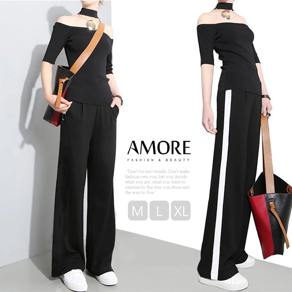 【Amore】韓國超人氣高腰口袋舒適顯瘦寬褲