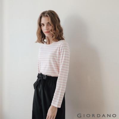GIORDANO 女裝條紋圓領長袖T恤 -06 粉紅/白