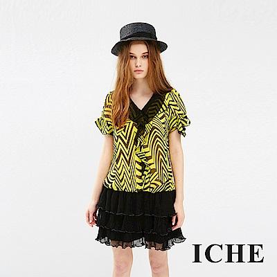 ICHE 衣哲 幾何印花拼接蛋糕層次造型洋裝