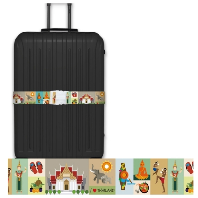 CS0422創意彩繪泰國風情行李箱綁帶 行李箱束帶 旅行箱捆綁帶