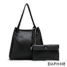 達芙妮DAPHNE-鉚釘流蘇肩背托特包-黑