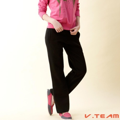 【V.TEAM】女款刷毛長褲(縮口)-黑