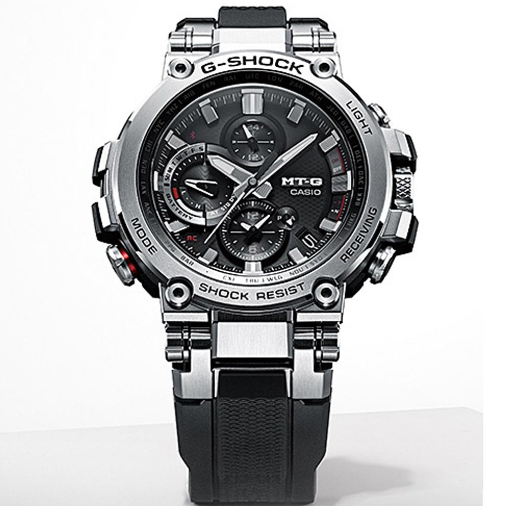 CASIO G-SHOCK MT-G 變形金鋼藍芽多功能六局電波錶-MTG-B1000-1A