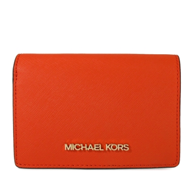 MICHAEL KORS Jet Set Item 金字Logo防刮皮革對開壓扣式中夾(橘子色)