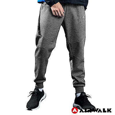【AIRWALK】男款運動剪接長褲-麻灰