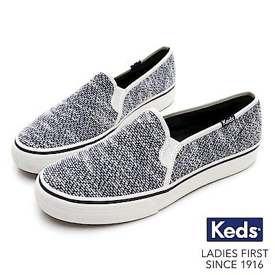 Keds DOUBLE DECKER 織紋布面休閒便鞋-藍色