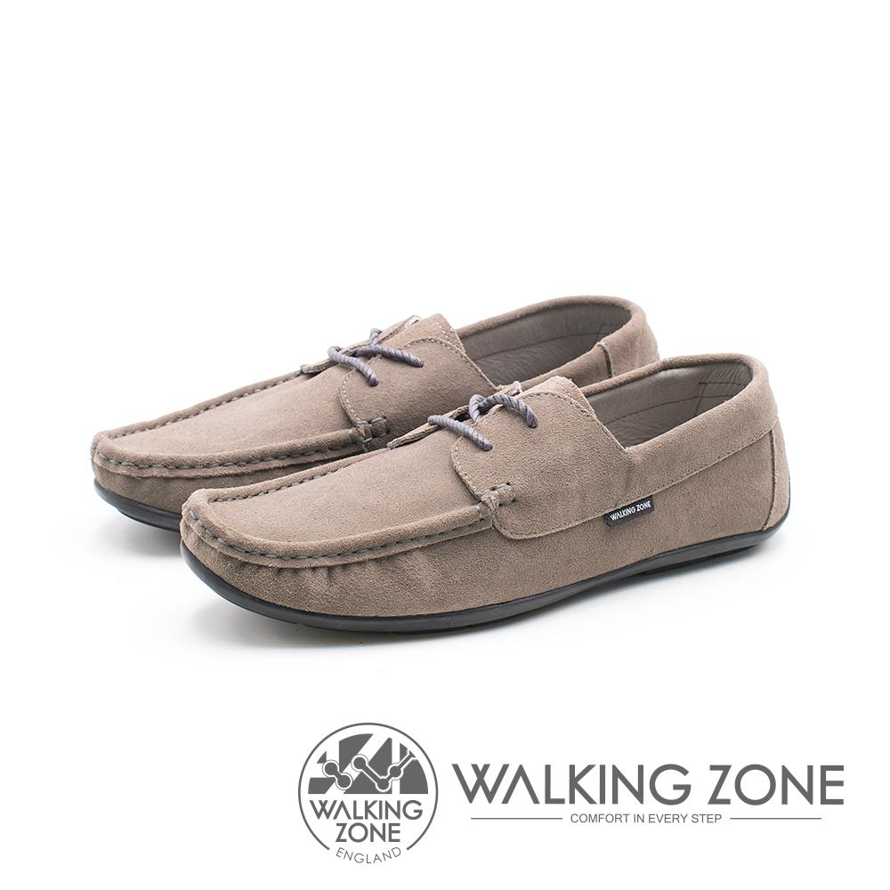 WALKING ZONE 極簡雅痞懶人鞋休閒鞋 男鞋-灰棕(另有藍)