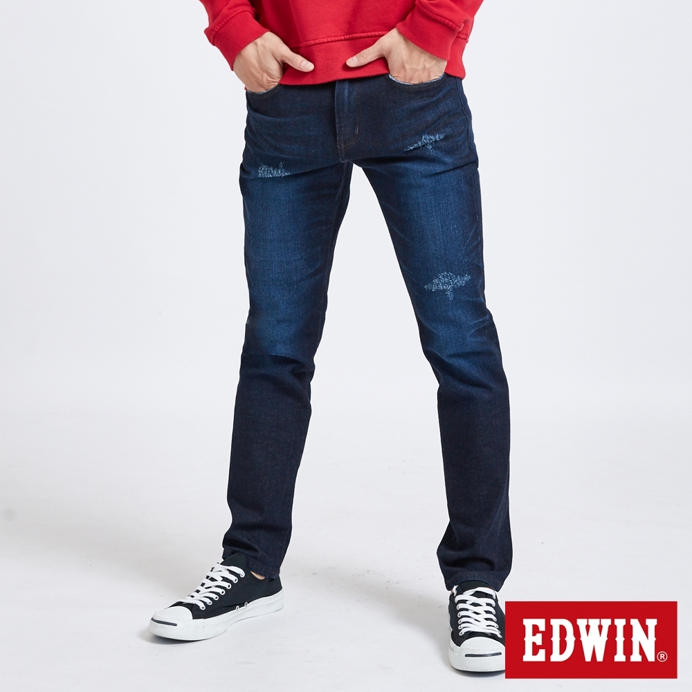 EDWIN 503 基本水洗刷色 窄管牛仔褲-男-酵洗藍