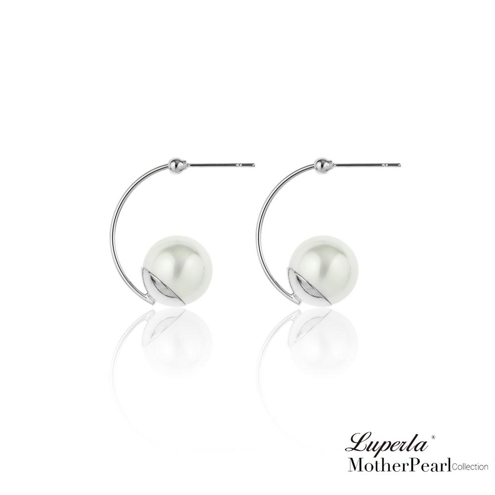大東山珠寶 南洋貝寶珠耳環 金屬風經典燦銀