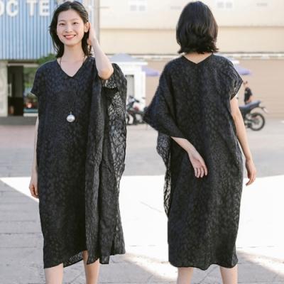 洋裝-日本進口面料高端緹花不規則寬鬆-設計所在