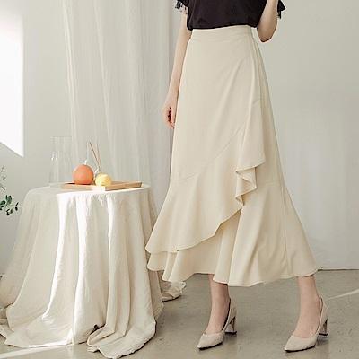 純色不易皺荷葉層次飄逸雪紡長裙-OB大尺碼