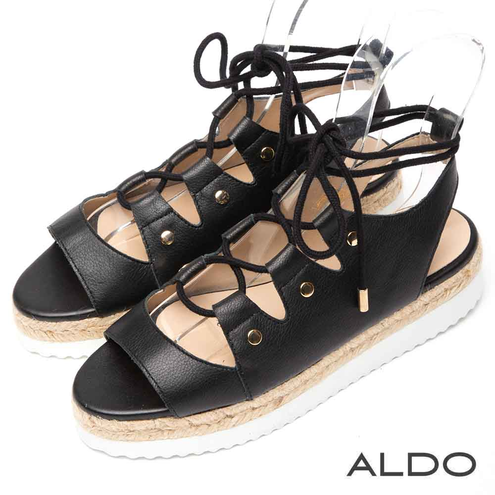 ALDO 原色真皮鞋面魚骨交叉綁帶繫踝厚底涼鞋~尊爵黑色