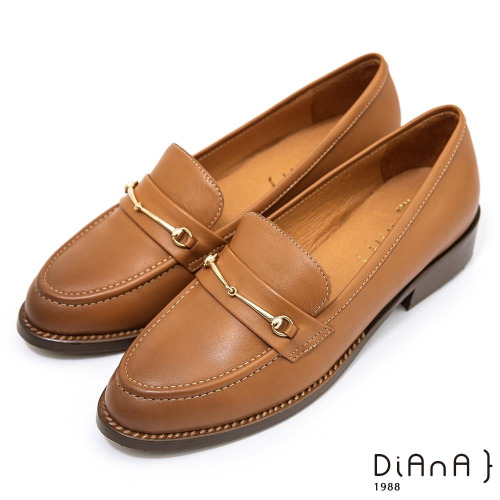 DIANA 3 cm質感水染牛皮馬銜釦低跟樂福鞋–漫步雲端焦糖美人-榛果棕