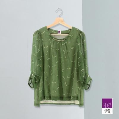 ILEY伊蕾 質感金蔥碎花雪紡上衣(綠)