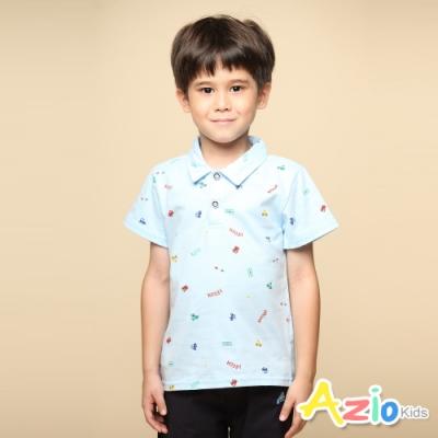 Azio 男童 上衣 滿版彩色小車印花純色短袖POLO衫(藍)