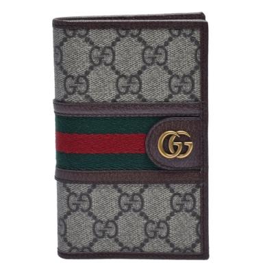 GUCCI 經典Ophidia系列GG Supreme帆布綠紅綠織帶皮革飾邊護照夾(烏木色)