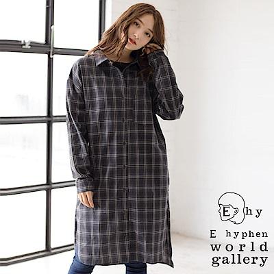 E hyphen 落肩格紋襯衫洋裝/罩衫