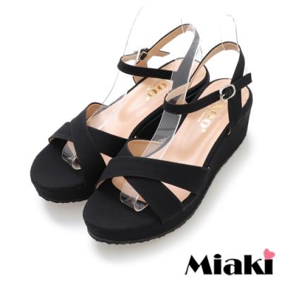 Miaki-涼鞋東大時尚厚底露趾涼拖-黑
